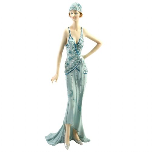 Broadway Belles Figurine Art Deco Lady Statue Teal Colour Hand On Hip 58201